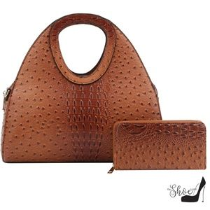 Cognac Alligator & Ostrich Handbag & Wallet Set